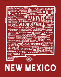 New Mexico Map Red