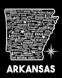 Arkansas Map Black