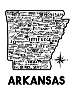 Arkansas Map White
