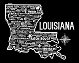 Louisiana Map Black