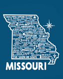 Missouri Map Blue