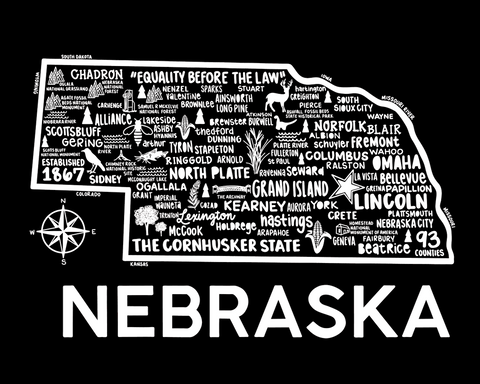 Nebraska Map Black