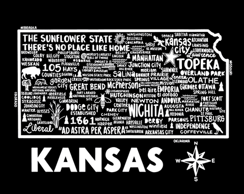 Kansas Map Black