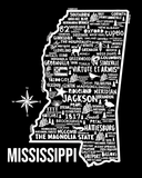Mississippi Map Black
