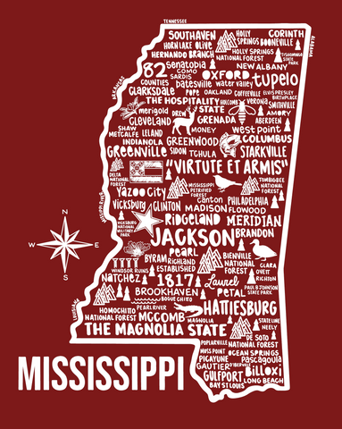 Mississippi Map Red