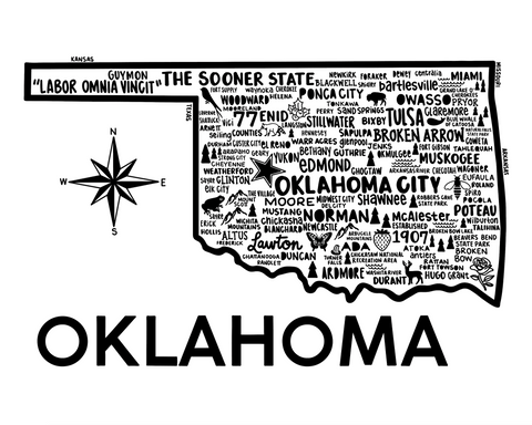 Oklahoma Map White