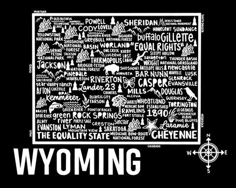 Wyoming Map Black