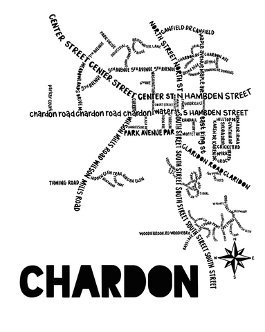 Chardon Ohio Map Print