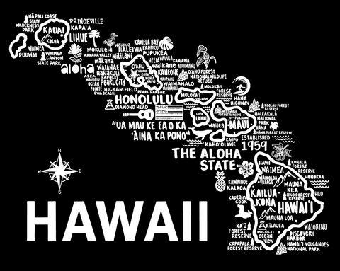 Hawaii Map Black