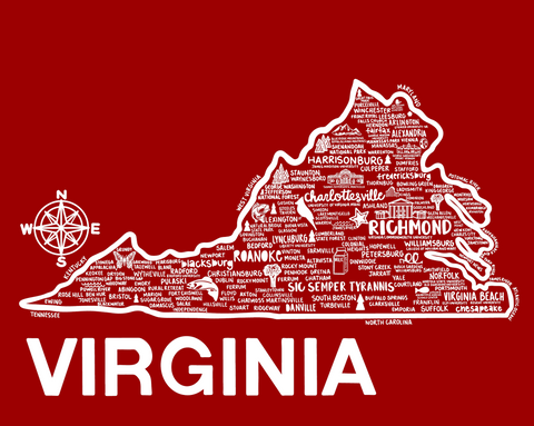 Virginia Map Red