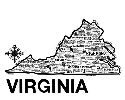 Virginia Map White