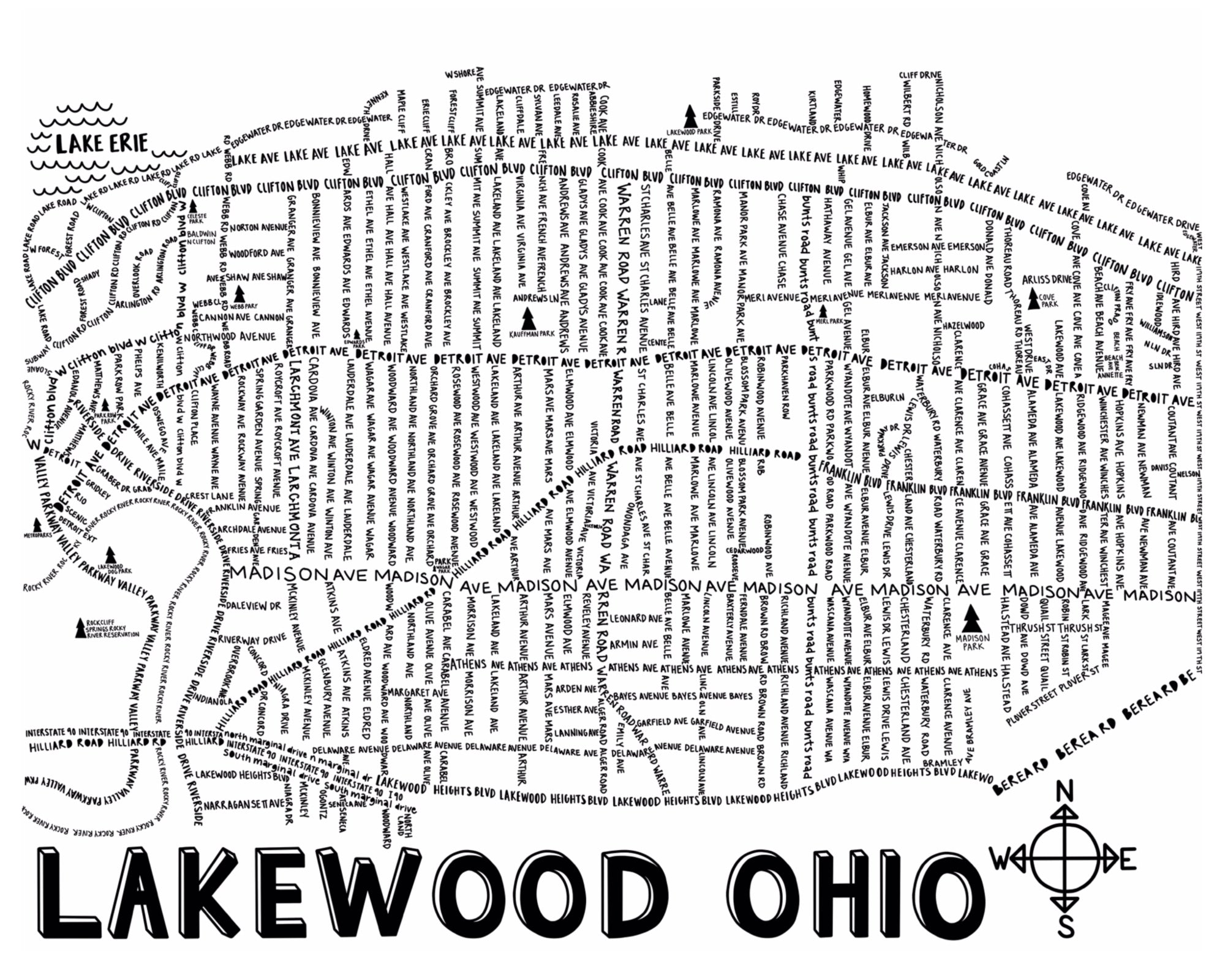 Lakewood Ohio Map Print