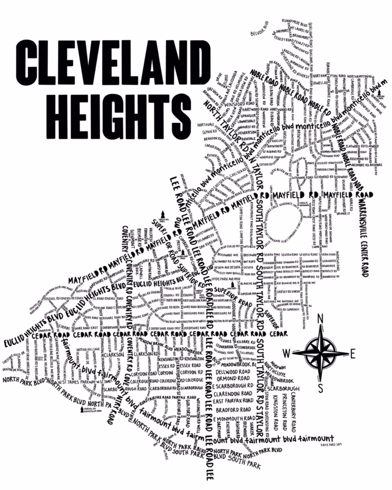 Cleveland Heights Map Print