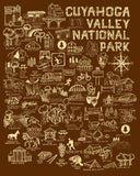 Brown and Ivory Cuyahoga Valley National Park Map Print