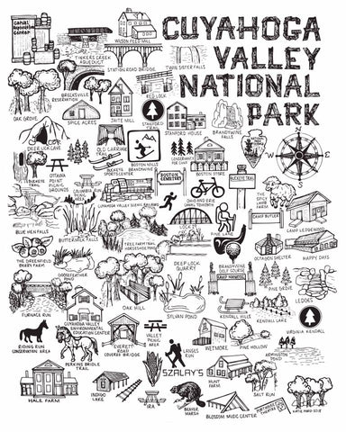 Black and White Cuyahoga Valley National Park Map Print