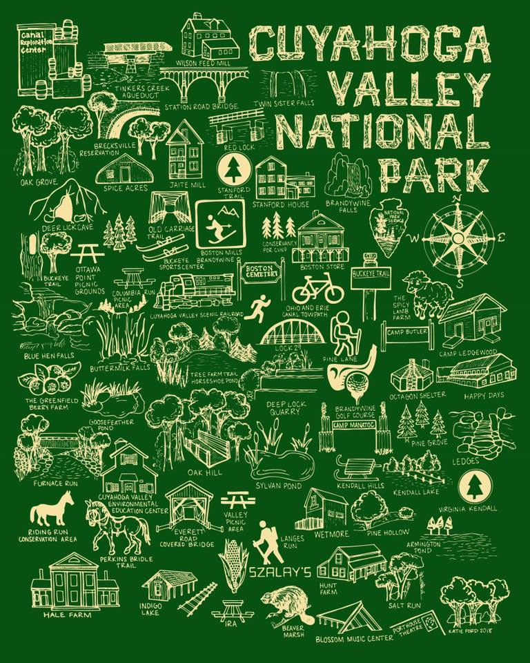 Green and Cream Cuyahoga Valley National Park Map Print – Fiber and ...