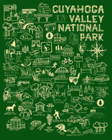 Green and Cream Cuyahoga Valley National Park Map Print