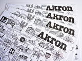 Akron Ohio Map Print