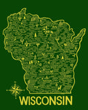 Wisconsin Map Green