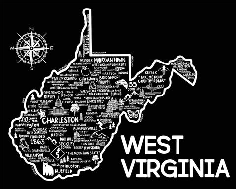 West Virginia Map Print Black
