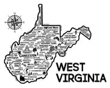 West Virginia Map Print White