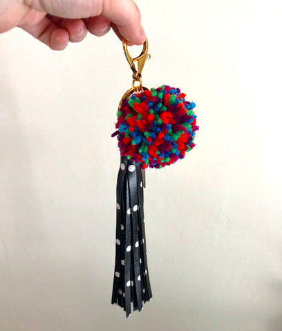 Black and White Polka Dot Tassel with Colorful Pom Pom