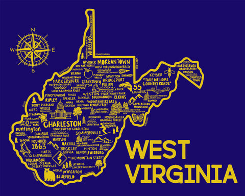 West Virginia Map Print Blue