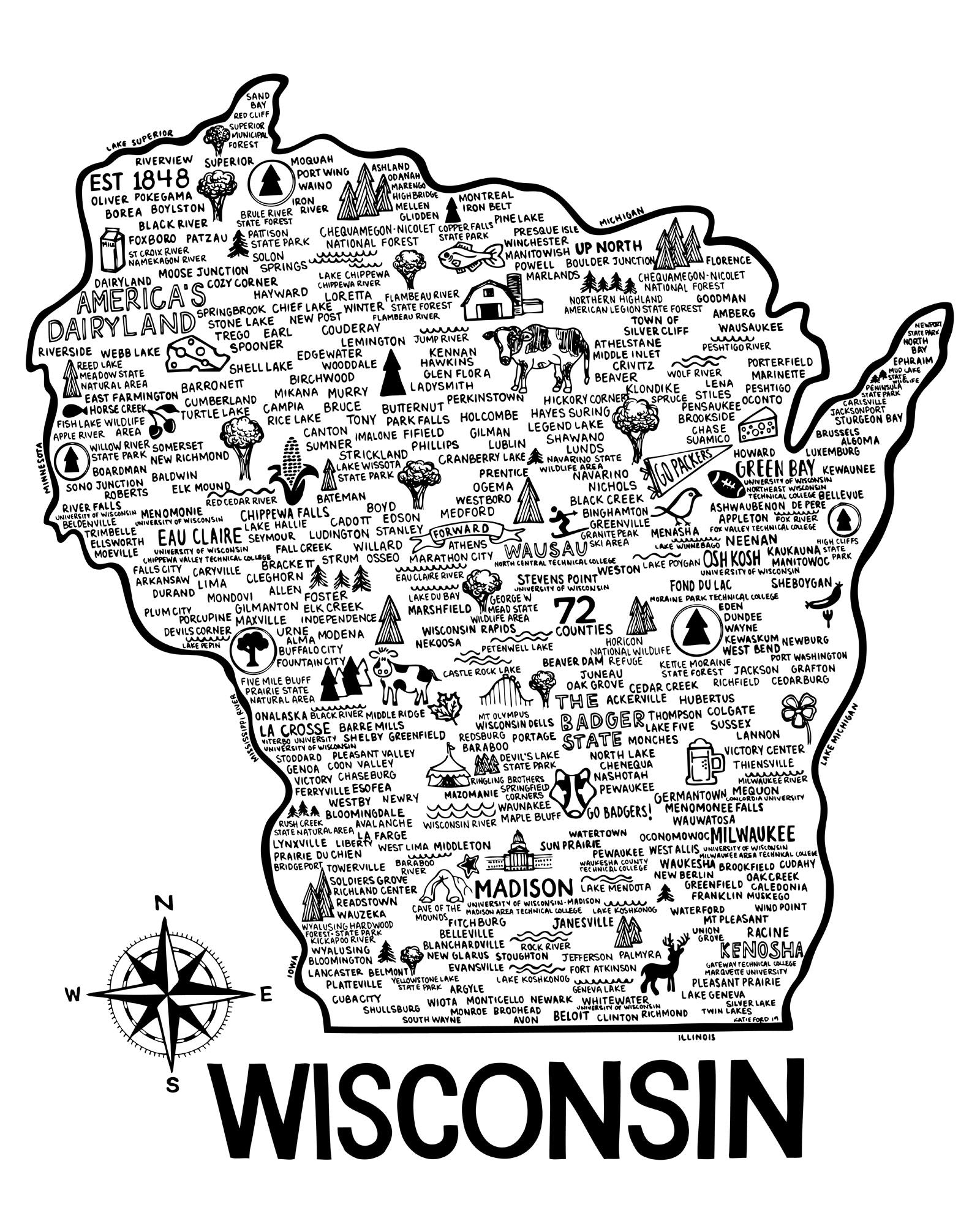 Wisconsin Map White