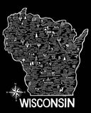 Wisconsin Map Black
