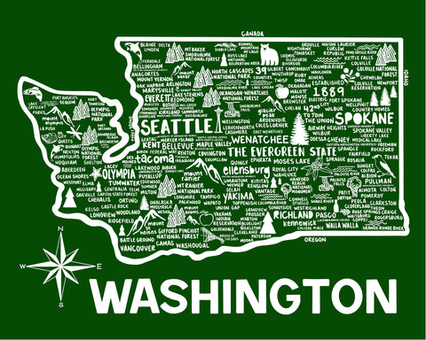 Washington Map Green