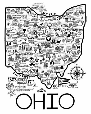 Ohio Map Black on White