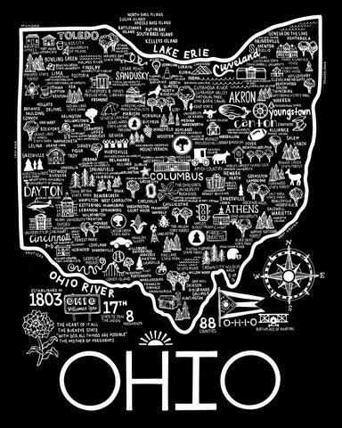 Ohio Map Black