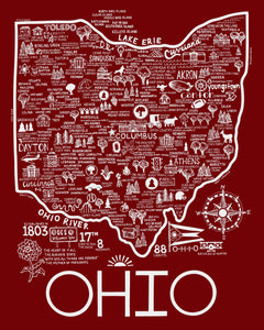 Map of Ohio Red and White