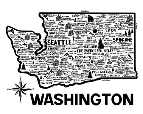 Washington Map White