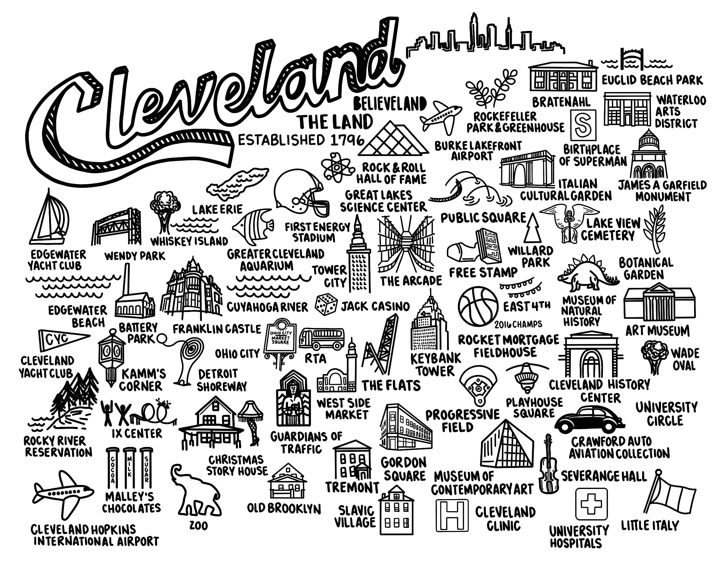 Cleveland Black and White Map Print