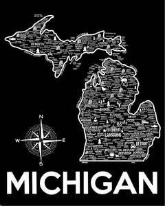 Michigan Map Print Black and White