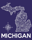 Michigan Map Print Blue and White