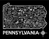 Pennsylvania Map Print Black and White