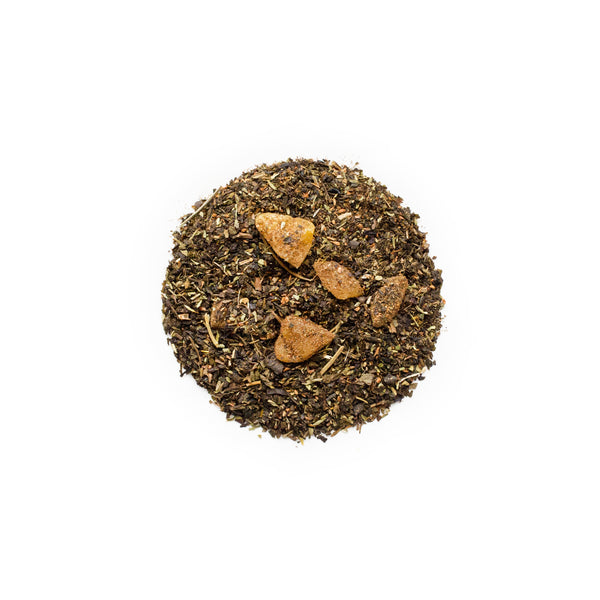 mango tango loose leaf tea by healthify tea shaped into a round circle