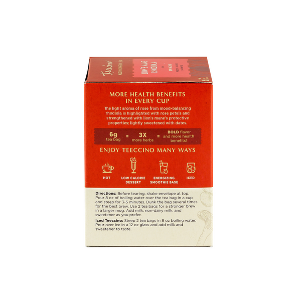 Lion's Mane Rhodiola Mushroom Adaptogen Herbal Tea