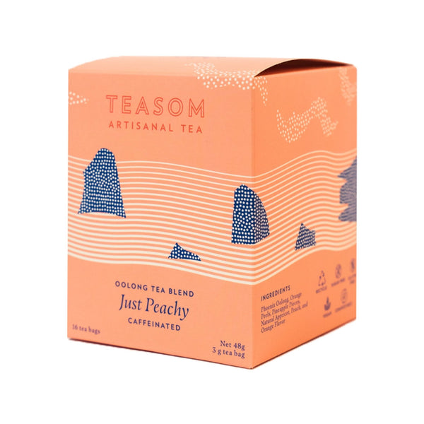 just peachy sips by teasom oolong tea peach flavored 16 tea bags caffeinated