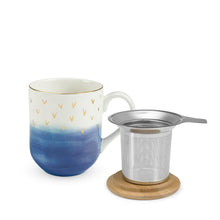 Load image into Gallery viewer, Gold Accent Tea Mug with Infuser
