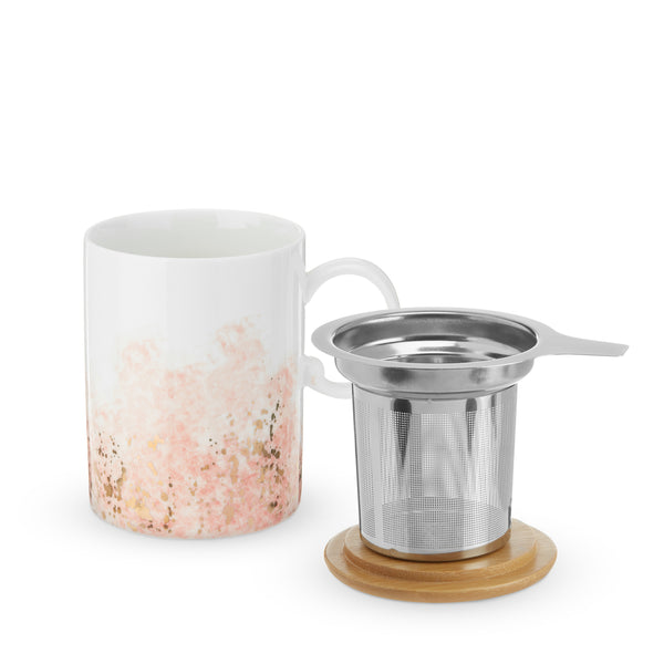 Watercolor Gold Tea Mug with Infuser