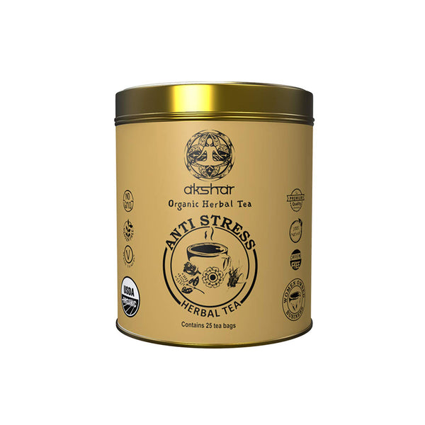 anti stress sips by akshar organic herbal tea 25 tea bags in a gold tan tin