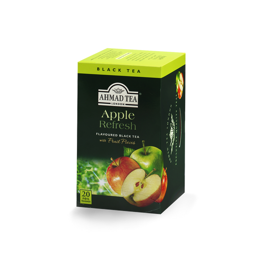 apple refresh flavored black tea with fruit pieces sips by ahmad tea london