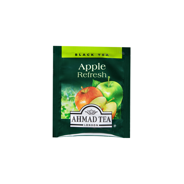 apple refresh flavored black tea with fruit pieces sips by ahmad tea london tea bags