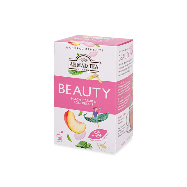 natural benefits beauty tea with peach, carob, and rose petals sips by ahmad tea london