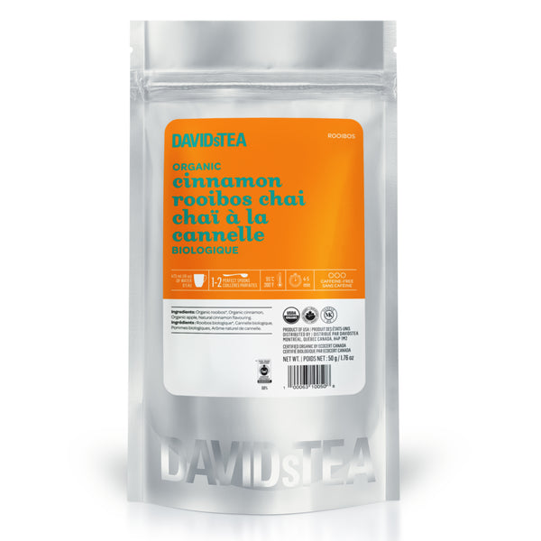 organic cinnamon rooibos chai sips by davidstea loose leaf rooibos chai blend in silver pouch