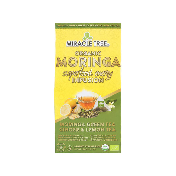 Organic Moringa Energy Tea - Green Tea Ginger & Lemon