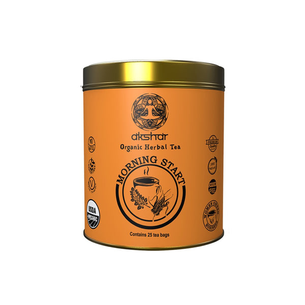 morning start sips by akshar organic herbal tea blend 25 tea bags in an orange tin